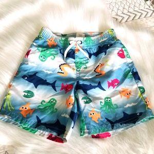 GYMBOREE Toddler Boy Swim Trucks Shorts Sharks 3T